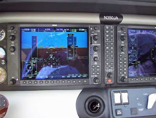 A view from the pilot's seat - plane dashboard.