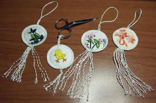 A variety of tags/ornaments