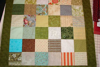 Start by sewing five inch charm squares together.