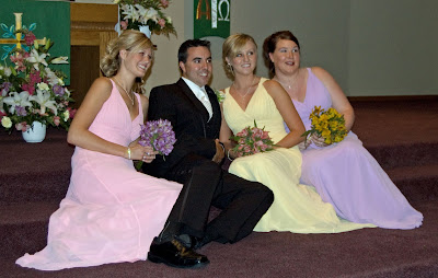 Josh and the bridesmaids.