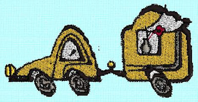 I digitized this pull-behind camper from clip-art.