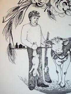 Closer view of wheat farmer in my Farmer Couple Wedding drawing.