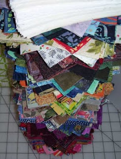 My big stack of pre-cut five inch quilt squares - bird's eye view looking down from the top.