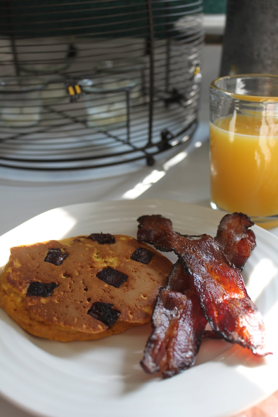 Pumpkin Pancakes with Chocolate Chunks - happenstance home