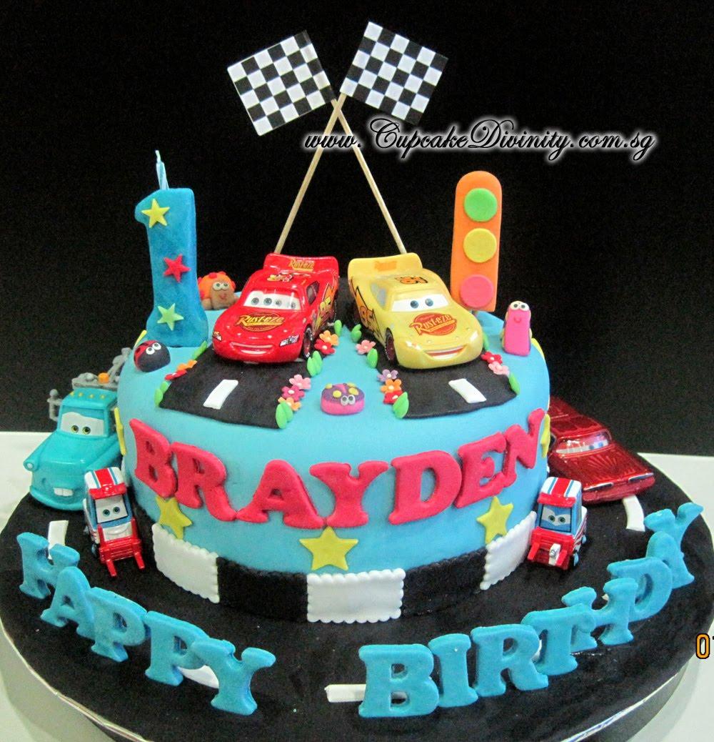 Cupcake Divinity Lightning Mcqueen Brayden fondant cake