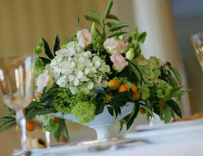 Wedding Centerpiece with Hydrangeas Greens and Berries from fleurLily Chic