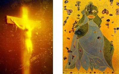 Artist: Andre Serranos, Piss Christ; and, Artist: Chris Ofili, The Holy Virgin Mary