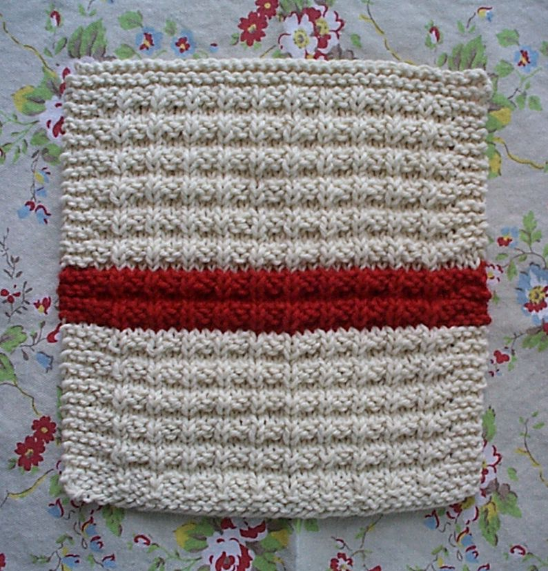 How To Knit Dishcloths Free Patterns : homespun living: waffle knit dishcloth pattern en francais