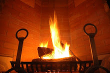 Warm Fire in the Living Room Fireplace