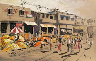 Market scene with pumpkins - mixed media