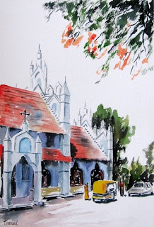 watercolor painting - outside the church