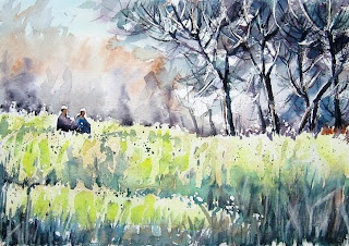 Mustard fields in watercolor