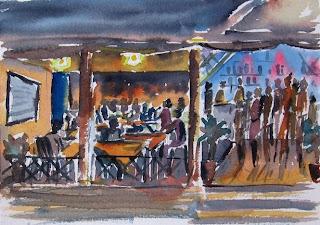 Karaoke Night at St Antony's II - watercolor