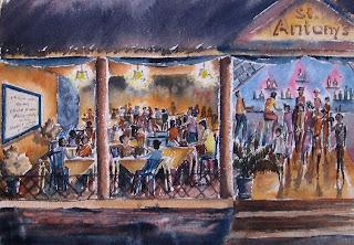 Karaoke Night at St Antony's - watercolor