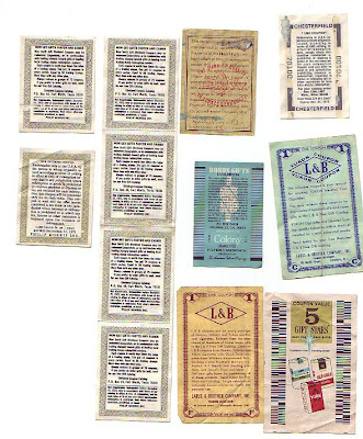 L&B larus brother company inc. (Yukon Coupon), Philip Morris (Sweet Gift Dividend), Raleigh, and Colony Cigarettes. back