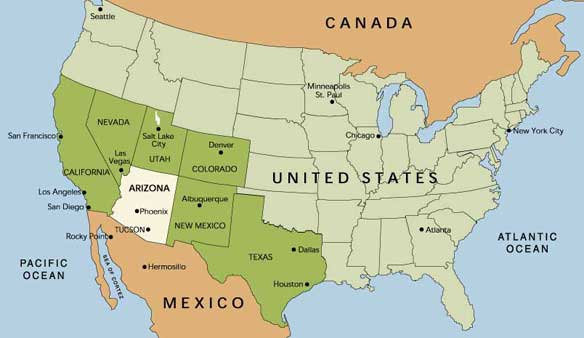 Map Of USA With The Indication Of State Of Arizona And Phoenix Us - Arizona map of usa