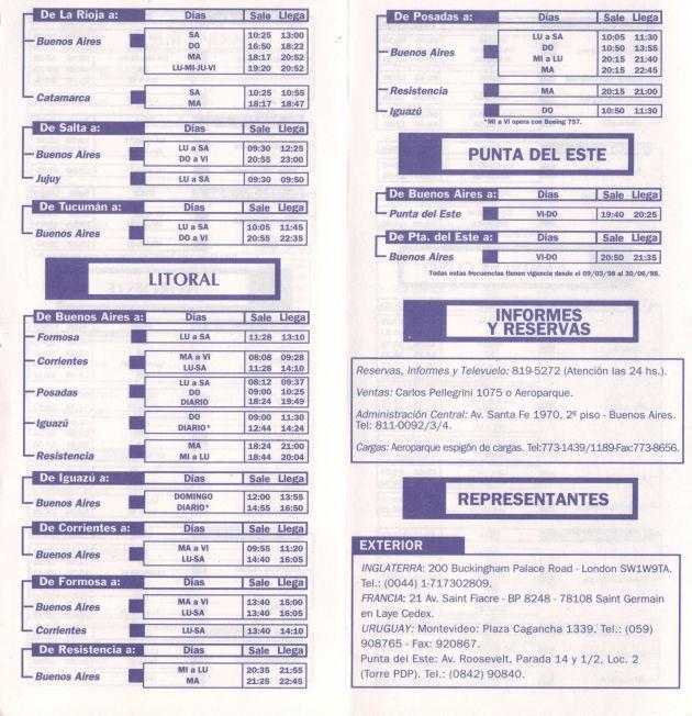 horarios lineas aereas:
