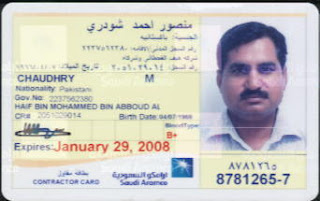 Saudi Araco ID Card Issued For Working At Shaybah Expansion Projects
