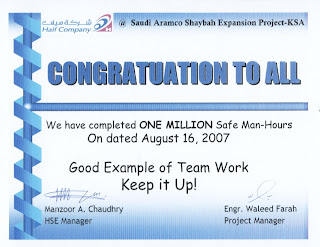 Completed One Million Safe Man Hours At Saudi Aramco Shaybah Site