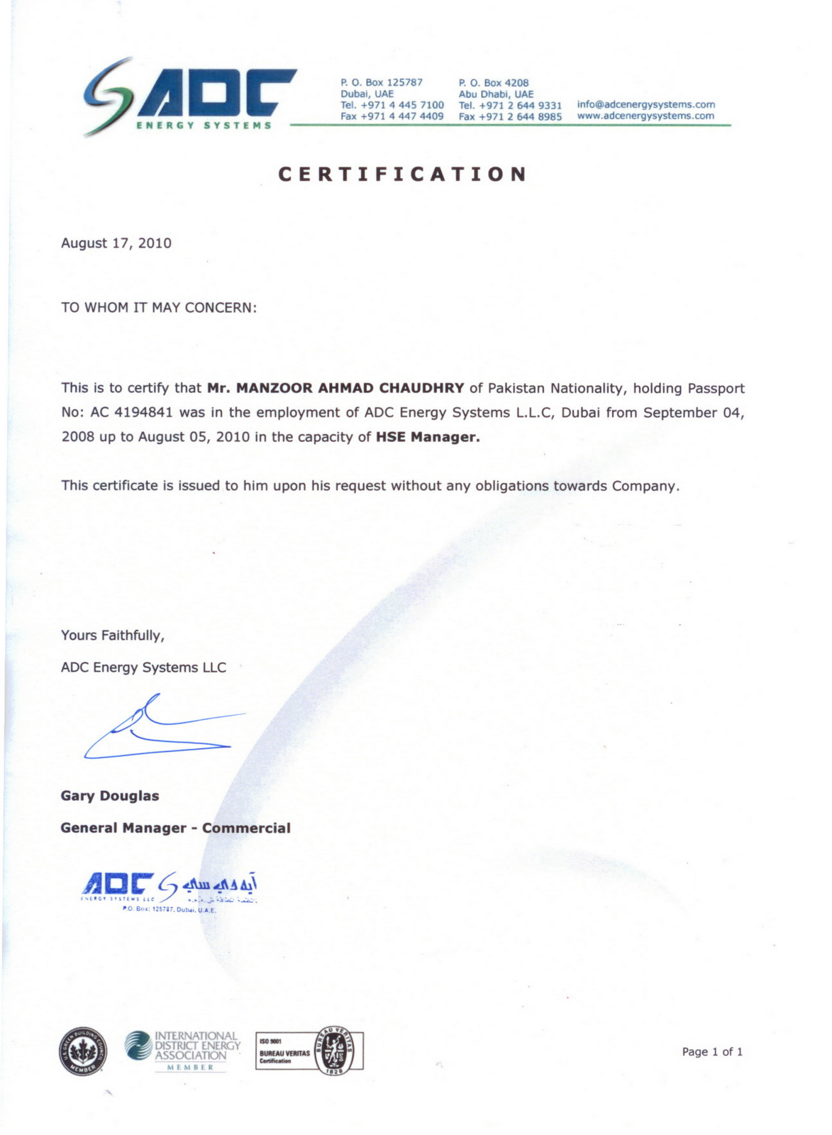 Experience letter format uae 28 images experience letter experience letter format uae manzoor ahmad chaudhry hse manager exp letter adc energy systems llc uae yadclub Choice Image