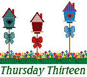 clip art showing fence and cute birdhouses with Thursday Thirteen underneath
