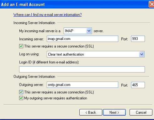 gmail imap  port