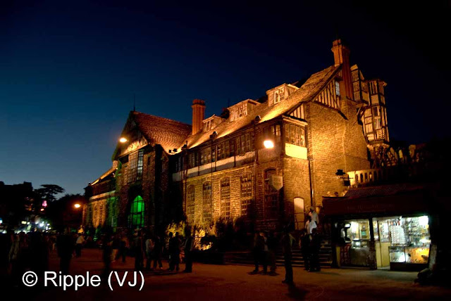 Posted by Ripple (VJ) : Shimla Night View : Front view of Shimla Town Hall in low light... This has been captured from Mall Road...