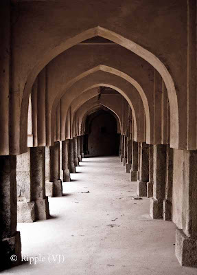 Posted by Ripple (VJ) : Pillars : we all need support @ Rajaon ki Baoli, Mehrauli A baoli or stepwell known as Rajon ki Bain was constructed in 1506 during Sikandar Lodhi's reign. It was used to store water though it is now completely dried and is now known as Sukhi Baoli (dry well).