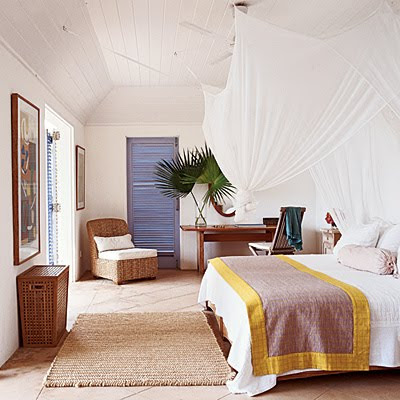 Woven seagrass and rattan touches throughout add a rustic island flavor.