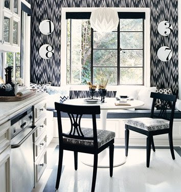 Mary McDonald Eat-In Kitchen Design Black and White