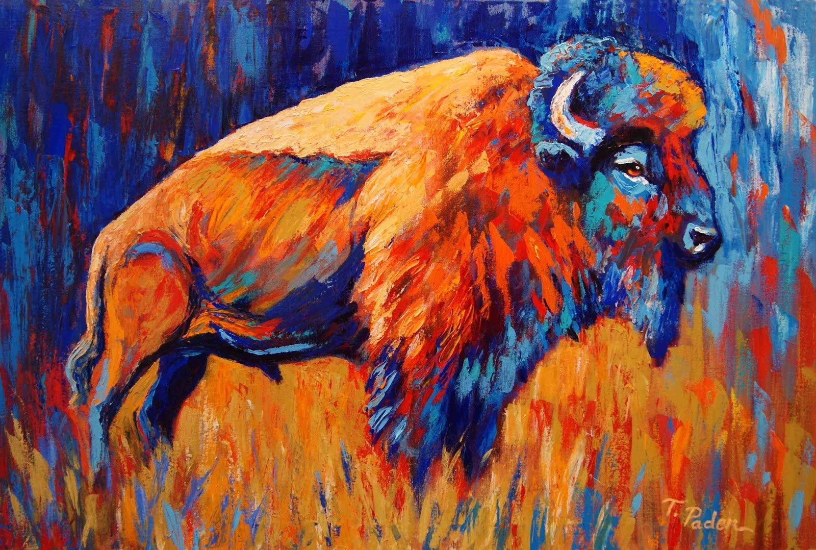 Acrylic Bison Painting
