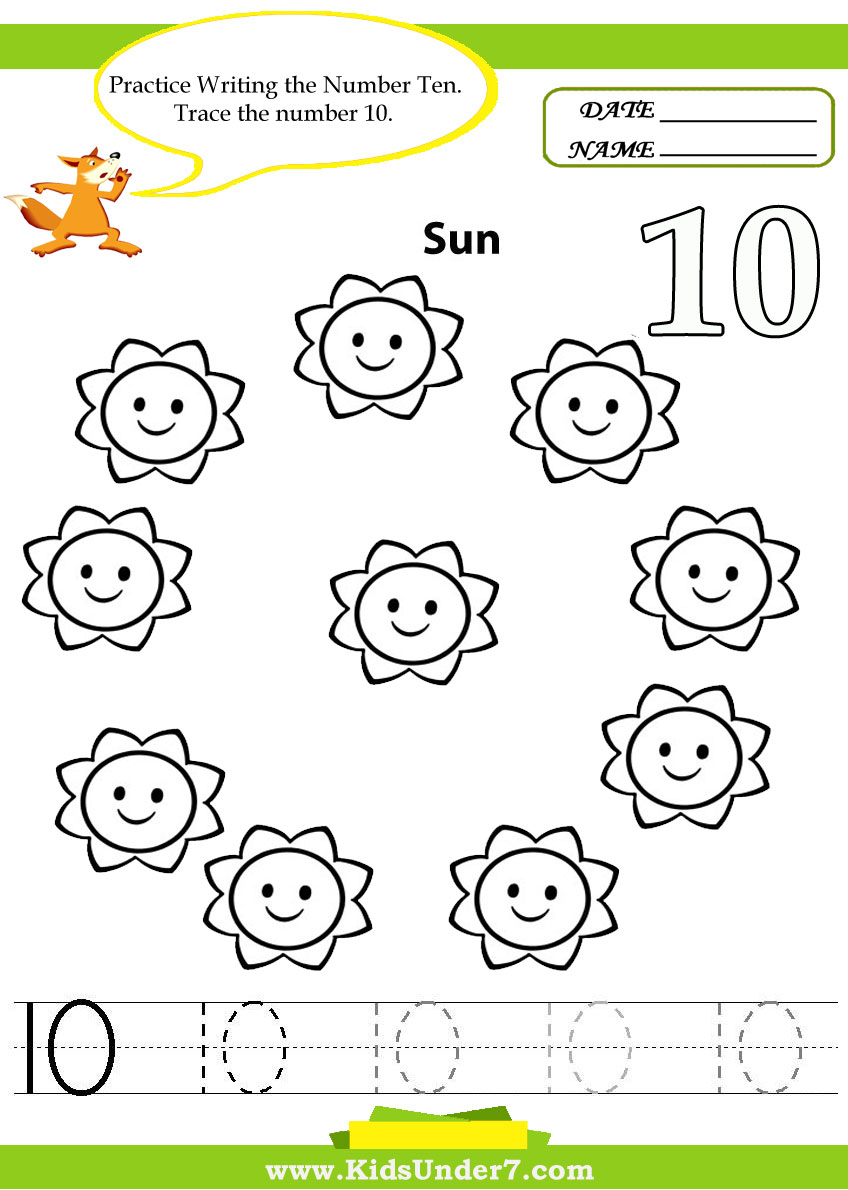 Worksheets Number 10 Worksheets For Preschool kids under 7 number tracing 1 10 worksheet part handwriting is an art and to have a good one should be trained developed from the childhood here set of handwritin