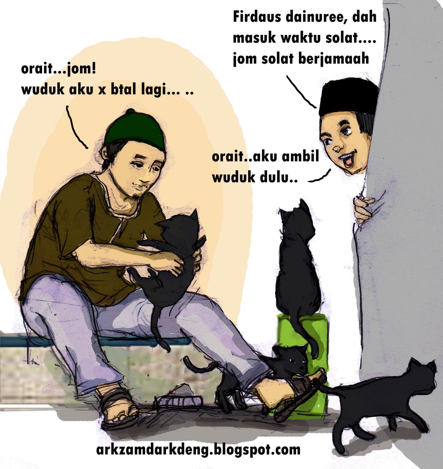 Hukum Bulu Kucing Semasa Solat Versi Kartun