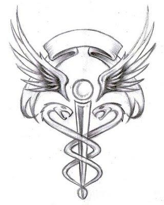 caduceus tattoos · http:/yronphelanhector.blogspot.com