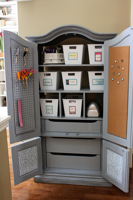 Why create a fun n' functional Craft Storage Center! Like this one ...