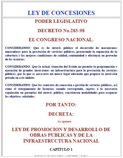 LEY DE CONCESIONES-Republica de Honduras