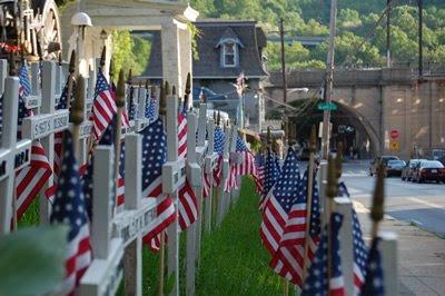American flags, Kowalski Post, Manayunk.