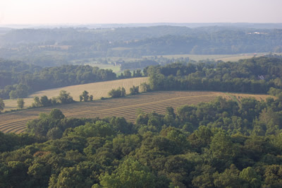 View of Chester County farm country from balloon.