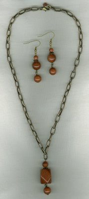 Antique Gold Chain w/ Goldstone Pendant