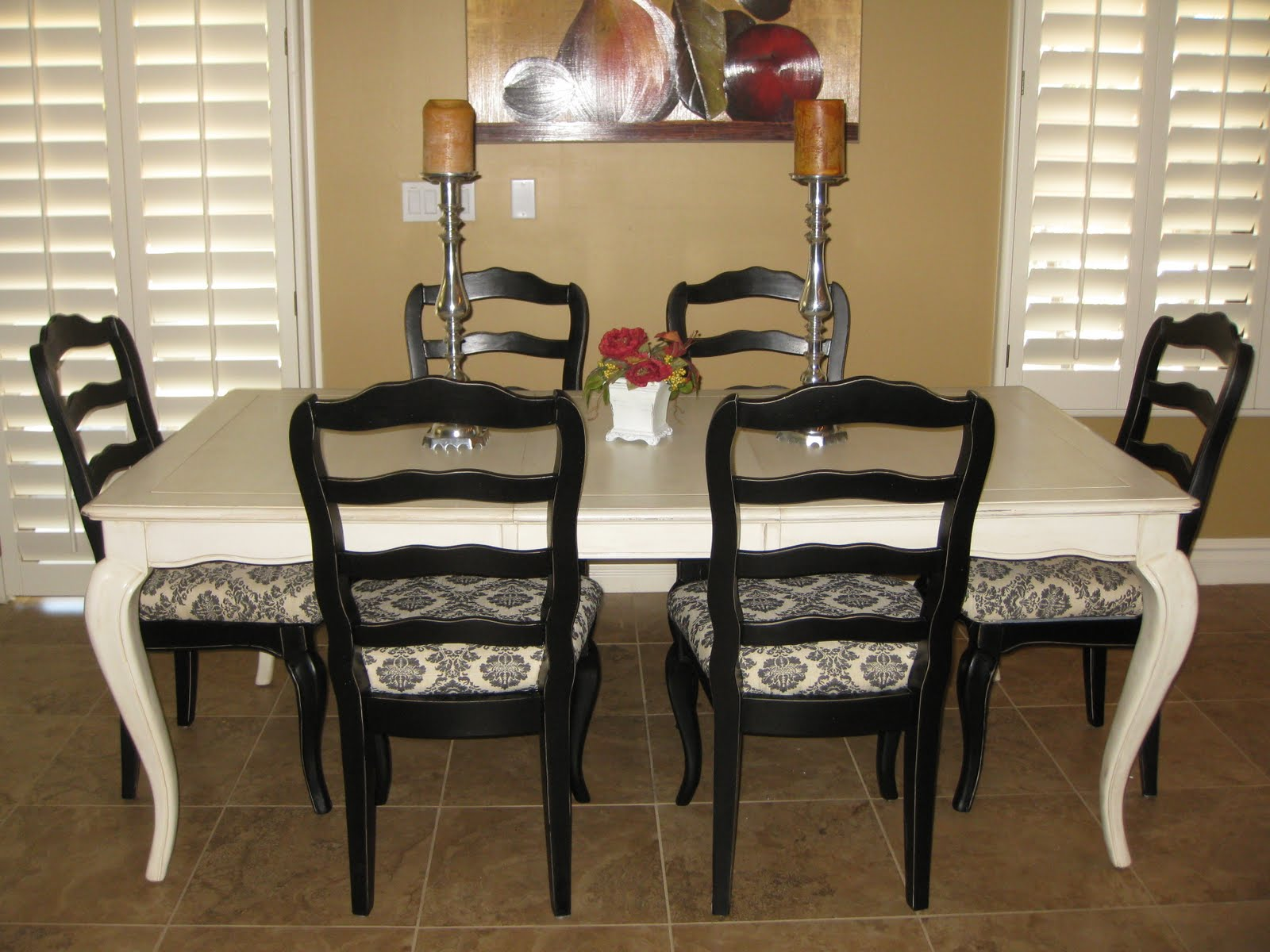 French Black And Cream Dining Table