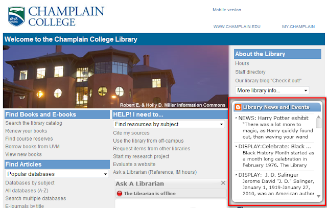 Champlain College Library Room Reservation