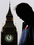 Photo from LIFE.com: World War II veteran Bill Crozier observes two minutes silence as Big Ben strikes 11am on Armistice Day November 11, 2003 in London.