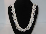White and Crystal Lace Necklace