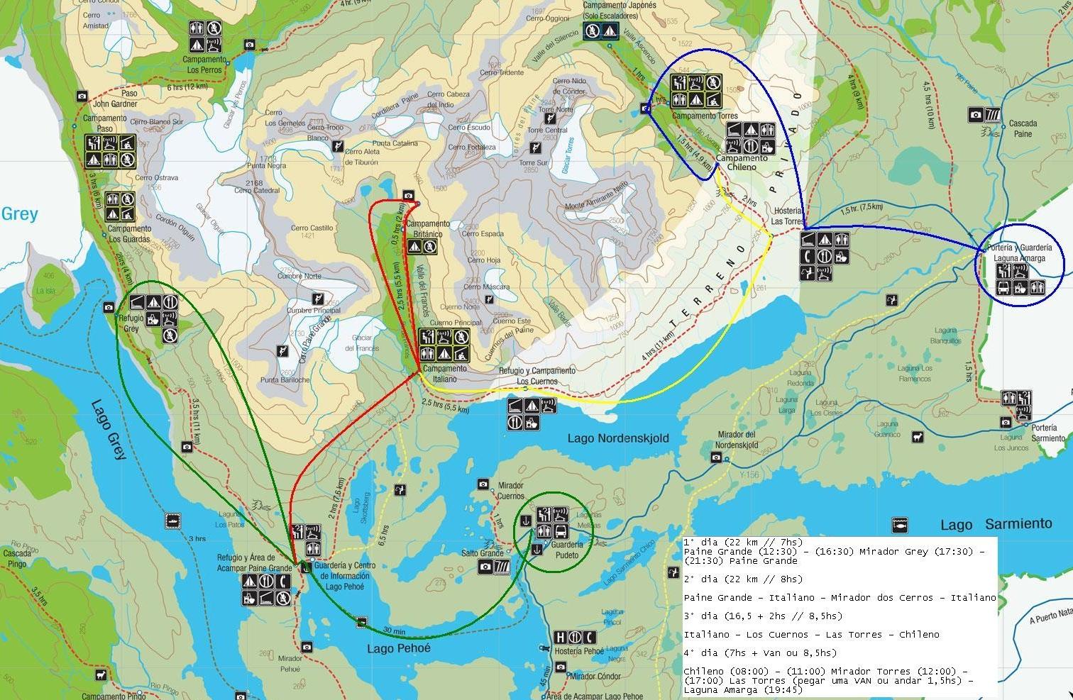 Circuito W Torres Del Paine Mapa : Viajes a torres del paine patagonia paquete turístico días