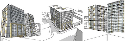 Perspectives of the proposed Te Aro Towers