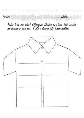 Moldes de lembrança para Dia dos Pais - gravata, certificado de pai-heroi e camisa.