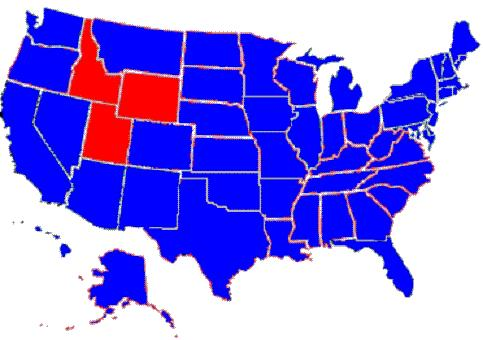 Political Us Map Red Blue - Us-political-map-red-blue