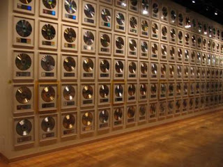 country music gold records wall