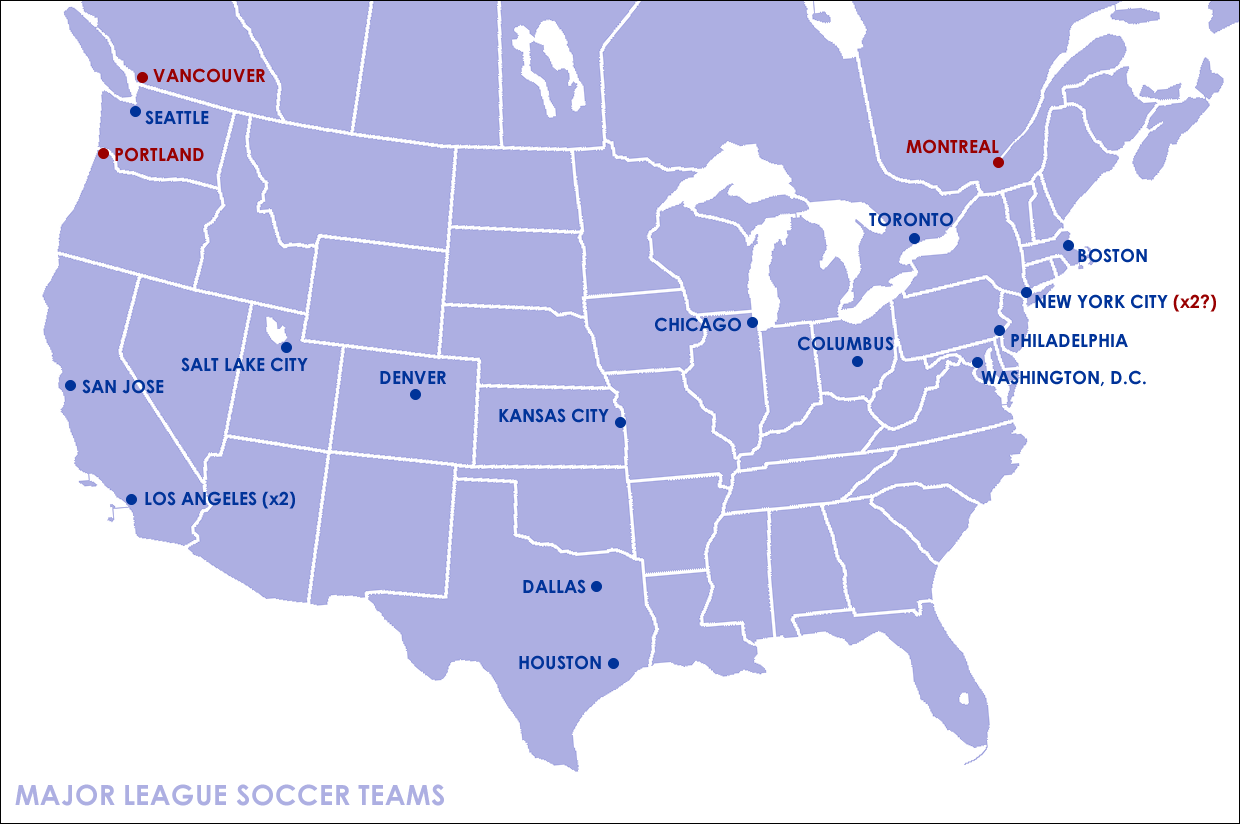 the most notable geographical gap in the distribution of the teams is the total lack of teams in the deep south after that gap the northern plains stand