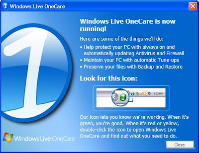 Windows Live OneCare! Installation Successful Screen